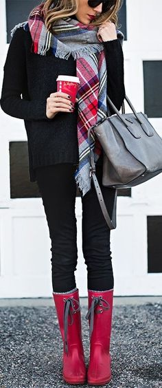 Plaid Scarf + All Black + Red Hunter Boots
