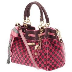 """Juicy Couture Deco Daisy Daydreamer Satchel Removable daisy hanging adornment 10 1/2"""" high, 14 1/2"""" long, 6 1/2"""" deep 7 3/4"""" handle drop Stripe…"""