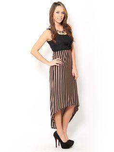 Striped Chiffon Maxi #Dress