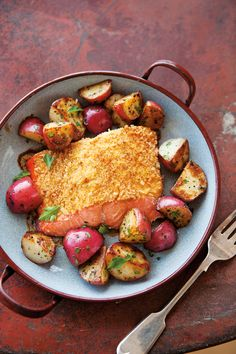 mustard-crusted salmon with red potatoes. Something to try this weekend!
