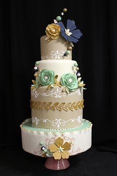 Navy Teal Gold bubble flowers wedding cake | Flickr - Photo Sharing!