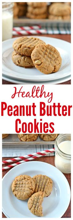 Soft and chewy Healthy Peanut Butter Cookies. NO butter and loads of peanut butter flavor!