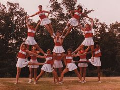 Old cheer picture. So funny! Does anyone still try this kind of stunt??