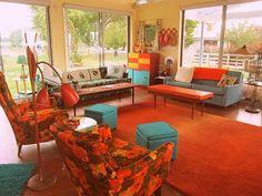decoración naranja turquesa sala