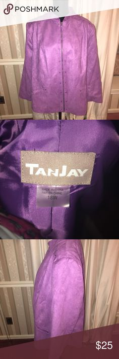 Tanjay purple suede jacket size 18W Tanjay purple suede jacket size 18W  ❌No trades  ✔️Reasonable offers accepted  ✔️Fast shipping - same day/next day   Bundle discounts! 10% off 3+   🚭Smoke free home. Jackets & Coats Blazers