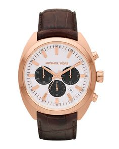 Michael Kors: Chocolate Leather and Rose Golden Stainless Steel Dean Chronograph Watch.