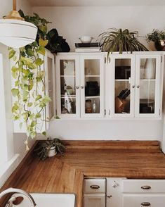 Absolutely love the shelving, plants and countertops! ☽☯☾magickbohemian