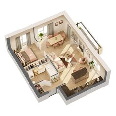 House Floor Design, Small House Interior Design, Hotel Room Design, Room Design Bedroom, Girl Bedroom Designs, Dream House Plans, House Floor Plans, Small Modern House Plans, Casas The Sims 4