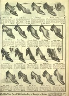 1918 Simpsons women shoes slippers . 1918 Women's slippers with multiple straps that are beaded. Slip on pumps with pom pom ornament (top) or plain (middle row)
