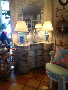 Distressed #buffet with light #blue #table #lamps at #PalmBeach #Mecox #interiordesign #MecoxGardens #furniture #shopping #home #decor #design #room #designidea #vintage #antiques #garden