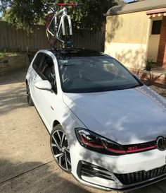 Looking for a VW Golf GTI Bike Rack? Does your car have a Panoramic Roof? Check out our Customer's Car with a SeaSucker Talon Rack mounted on his Panoramic Roof. Volkswagen Golf Mk1, Vw Golf R Mk7, Volkswagen Vehicles, Mountain Bike Brands, Gti Mk7, Mercedes Benz Sls, Bike Rack, My Dream Car, Cool Cars