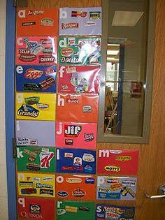 Environmental print! Classroom Displays, Classroom Door, Future Classroom, Classroom Ideas, Learning Letters, Alphabet Activities, Word Wall Activities, Preschool Alphabet, Kindergarten Literacy