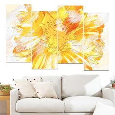 Design Art 'Yellow Flower' 48 x 28-inch 4-panel Canvas Art Print