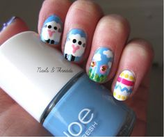 Easter nail art! nailsandthreads.blogspot.com check out www.MyNailPolishObsession.com for more nail art ideas.
