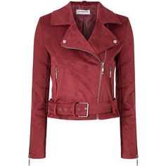 1239782b4cc Burgundy Suedette Biker Jacket (135 CAD) ❤ liked on Polyvore featuring  outerwear