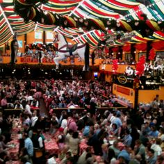 Hippodrome tent at the Oktoberfest in Munich (Minga), Germany. What the tents look like inside. Each tent is a different type of beer.