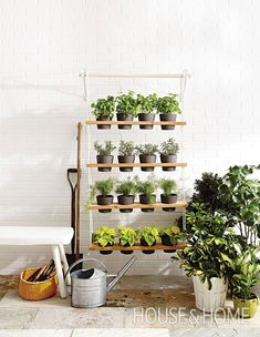 DIY: Vertical Garden Planter. A vertical garden is a great way to add life to a bland patio or small balcony. This hanging planter is inexpensive and fairly easy to make. | Photographer:Angus Fergusson | Designer:Lauren Petroff