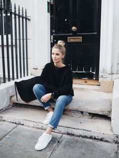 Acne Studios mohair knit, Current Elliott jeans, Adidas hyke sneaker & Céline cabas bag. Via Mija