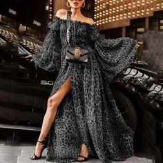 Leopard Print Off Shoulder Split Boho Maxi Dress – judedress Sexy Maxi Dress f7efbe417