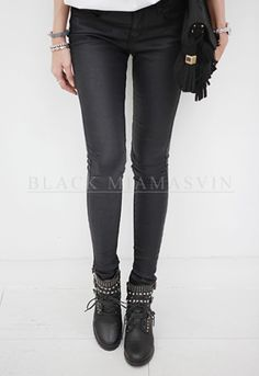 Amp up a plain, dull top with these coated black skinny pants. These stylish pants come with an easy zip front with button fastener, slim fit, and coated finish. Try with sweatshirts and sneakers. - Low rise - Four pocket style - Color: Black