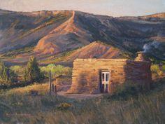 """First Light on Cow Camp"" l 9 x12 l Dix Baines I Fine Artist l Original Oil Paintings I Texas l Cabins l Canyons l Texas Landscape l Ranch l Palo Duro Canyon l Architecture l Summer Colors l Oil Paintings l www.dixbaines.com"