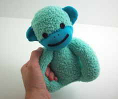 Sock Monkey Baby Safe Toy in Teal and Blue. $20.00, via Etsy.