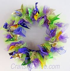 Love the colors! Mardi Gras Ribbon Wreath. Change up colors -- add pink, for a spring wreath. CraftsnCoffee.com.