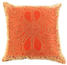 Floral Ornamental Embroidered x Accent Pillow Cover, Set of 2 (Golden Orange) Teal Pillow Covers, Decorative Pillow Covers, Accent Pillows, Throw Pillows, Decor Pillows, Ocean Room, Halloween Pillows, Orange Pillows, We Are The World