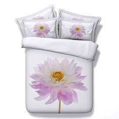 Purple Pink Orange and White Nice Flower Print Elegant Girls Feminine Pastel Style Twin, Full, Queen, King Size #Bedding #Bedspread #Bedroom Sets