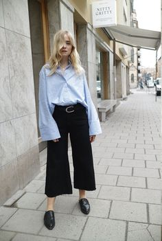 Wear Argent's Black Cropped Trouser with the Pinstripe Colorblocked Blouse