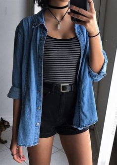 Necklace, flannel, stripped top & shorts by variousxvibes cool summer outfits, flannel outfits Black Shorts Outfit Summer, Cute Outfits With Shorts, Cool Summer Outfits, Hipster Outfits, Trendy Outfits, Fall Outfits, Fashion Outfits, Fashion Ideas, Flannel Outfits Summer