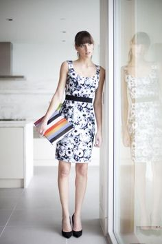 Sheath dress, available in Purple and Blue (Print) and (brand new!) in solid Royal, Magenta, and Black $110