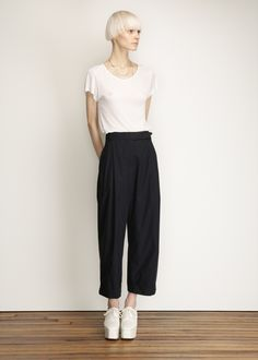 Suzanne Rae Pleat Front Trouser (Navy)