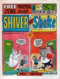 Shiver and Shake. This 'horror' inspired comic only ran from 1973 to 1974 before merging with Whoopee! Old Comics, Vintage Comics, Funny Comics, Vintage Toys 1970s, Vintage Books, 1970s Childhood, My Childhood Memories, Morning Cartoon, Teenage Years