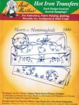 Hearts & Hummingbirds Aunt Martha's Hot Iron Embroidery Transfer