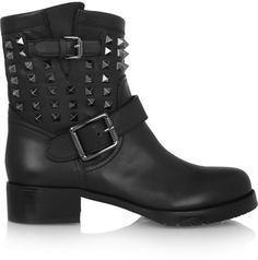 Valentino Studded leather biker boots on shopstyle.com