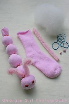 Easy kid craft -n o-sew sock animal perfect for babysitting! by kerr by Ellen Guarisco