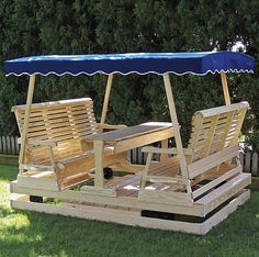 Keystone Double Glider - Amish-made Furniture - Gliders with Canopies & Double Canopy Glider with Table | Outdoor Living/Landscape ...