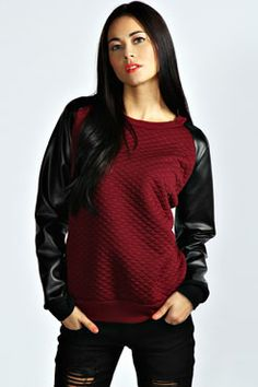 Nail two trends with one top! The Sophie Quilted PV Sleeve Sweatshirt - quilting AND high shine, boom.