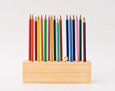 Pencil Holder Wood Desk Organizer Pen Holder DRAWING DAISY. $59.00, via Etsy. @Chelsea Windlinger