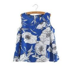 Women floral print Vest crop blouses pink blue femininas O neck sleeveless loose shirts casual tops