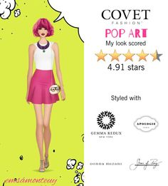 Pop Art @covetfashion  #covet #covetfashion #fashion #covetfall2015 #fall2015 #womensfashion #popart #ShoesOfPrey #DonnaMizani #RAOUL #Apologie #GemmaRedux #pink #white