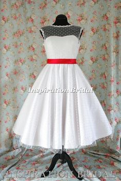 Uk 1364 short wedding dress tea length knee polka dot short 50s 60s retro sash