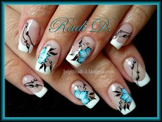 Waterdecals + hand- painted work by RadiD - Nail Art Gallery Gorgeous Nails, Pretty Nails, Hair And Nails, My Nails, Country Nails, French Tip Nails, Stylish Nails, Flower Nails, Nail Art Galleries