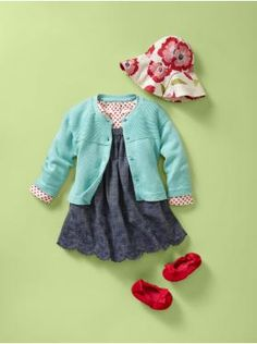 Baby Gap, Baby Girl spring outfit, love the pops of teal and red