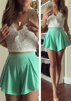 Lace top + green flowey shorts