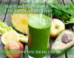 My special Skin-Glow juice recipe. How watercress can help with weight loss. Did you know that watercress can reduce wrinkles (amazing research results!). Plus other health benefits. Delicious, spicy Citrus watercress salad recipe. #juicing #health #nutrition