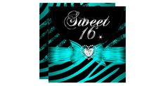 Sweet 16 Sixteen Teal Blue Zebra Animal Black Lace Glitz Glam Diamonds Hearts Aqua Teal Blue & Blue Turquoise Celebrations Invitation modern girly Formal Use for any event invitation Customize to change or add details. All Occasions Fabulous Elegant Events for Girls, Party Invites for all ages, just customize to the age you want! Affordable, Cheap but classy! Zizzago created this design PLEASE NOTE all images are NOT Diamonds Jewels or real Bows!!