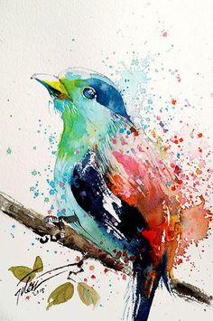 Watercolor Bird, Watercolor Animals, Watercolor Illustration, Colorful Paintings, Animal Paintings, Drip Art, Guache, Diy Canvas Art, Art Drawings