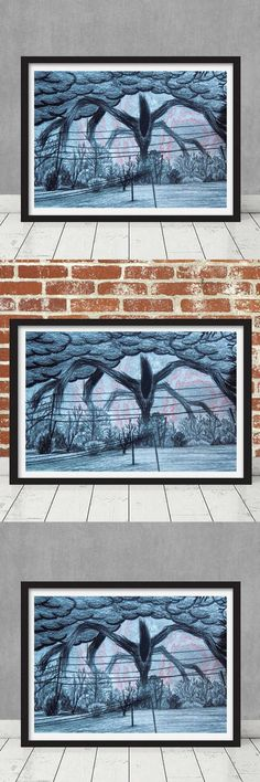 A good friend recommended Stranger Things on Netflix to me last year. I absolutely loved it, and found it difficult to wait for season 2. Now that it is here, this is a replica prop of Will's drawing. The drawing is of the Upside Down and the Shadow Monster that is awaiting... Stranger Things Season 2 Will's Drawing Shadow Monster Replica Prop Netflix Show The Upside Down Hawkins Framed Print #giftideas #strangerthings #ad #homedecorideas #livingroomdecor #bedroomdecor